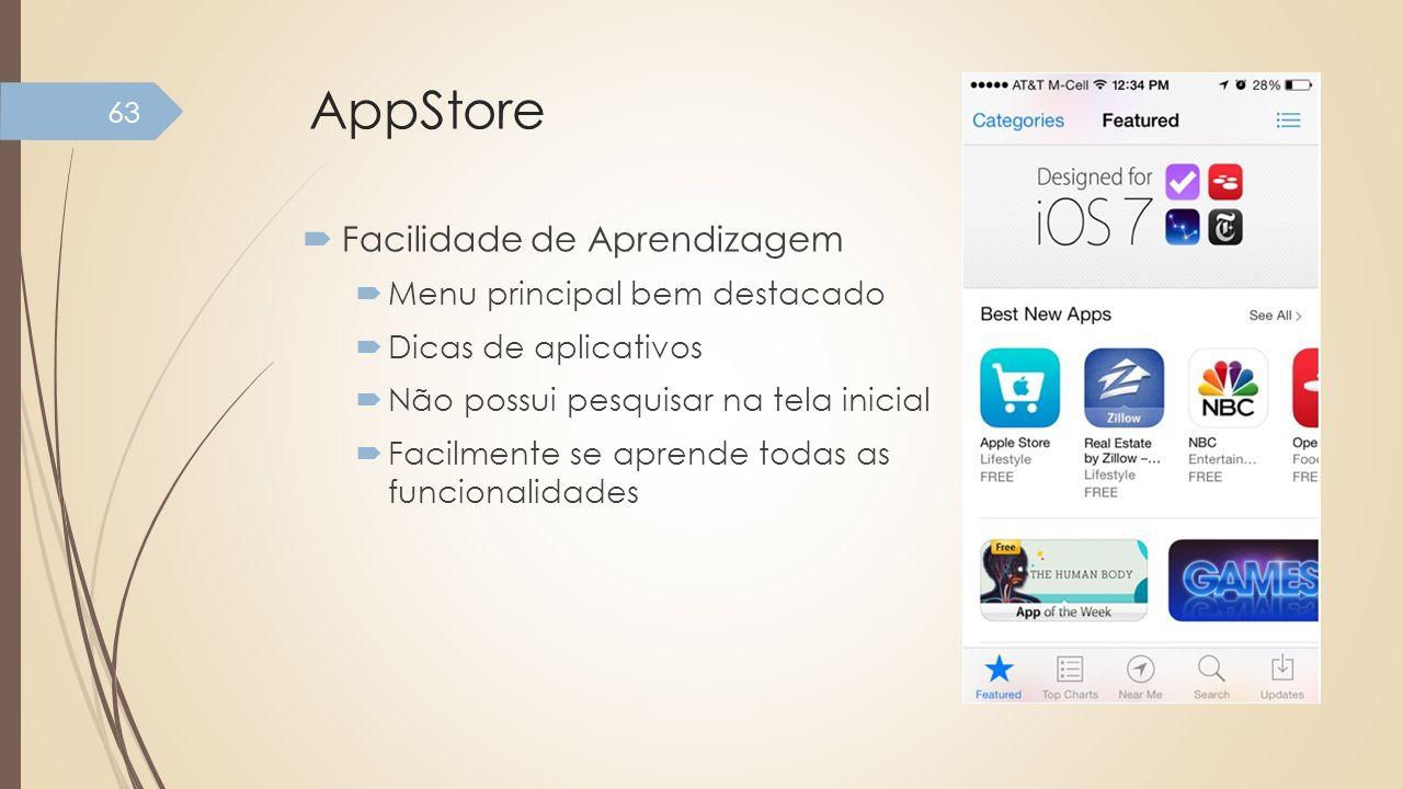 AppStore Facilidade de Aprendizagem Menu principal bem destacado