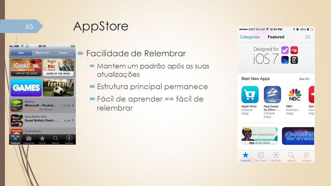 AppStore Facilidade de Relembrar Estrutura principal permanece