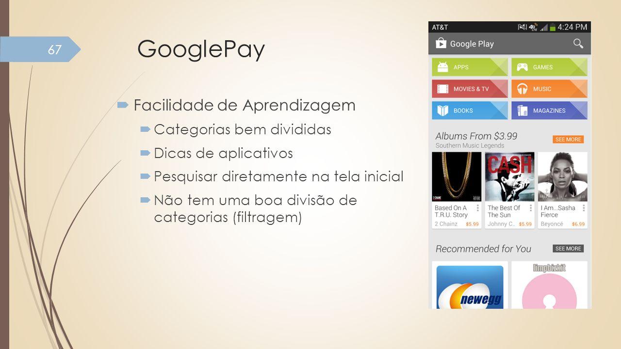 GooglePay Facilidade de Aprendizagem Categorias bem divididas
