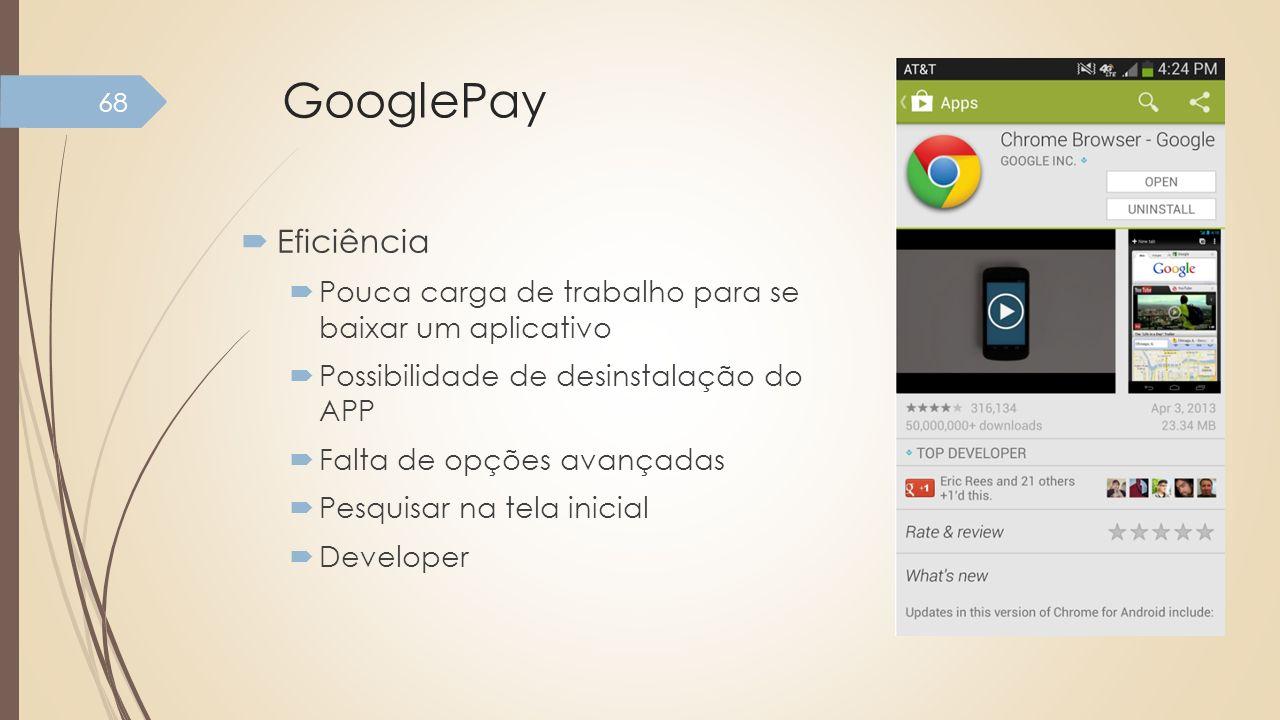 GooglePay Eficiência. Pouca carga de trabalho para se baixar um aplicativo. Possibilidade de desinstalação do APP.