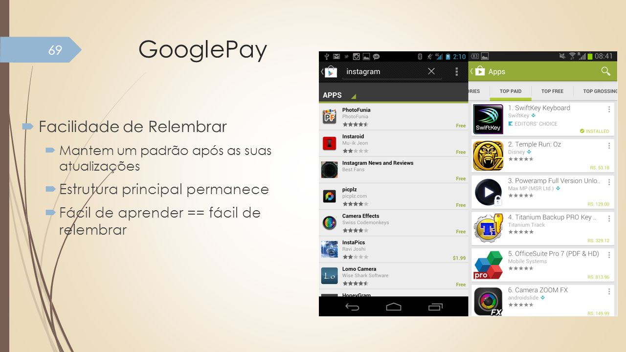 GooglePay Facilidade de Relembrar Estrutura principal permanece