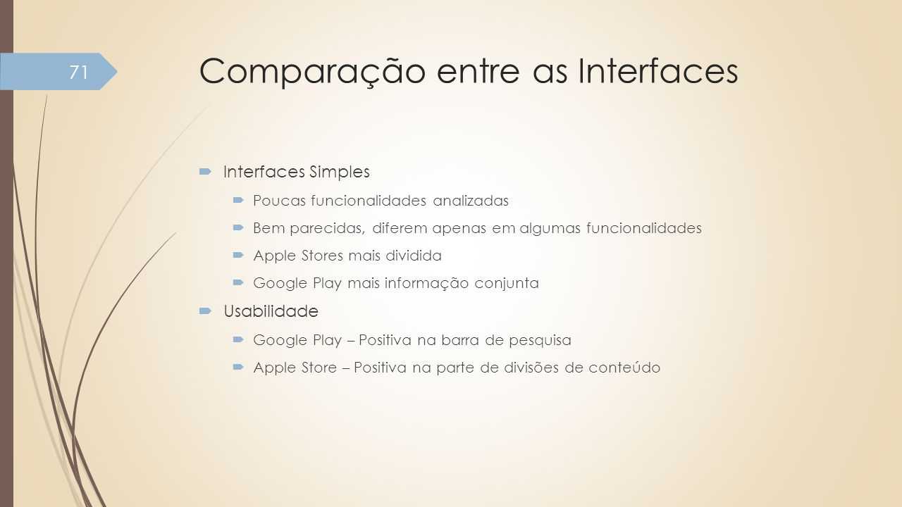 Comparação entre as Interfaces