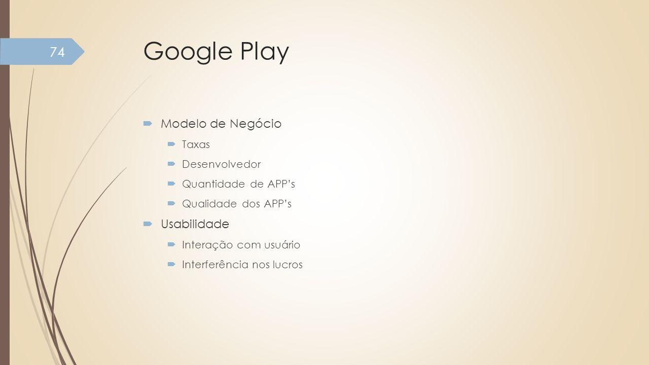 Google Play Modelo de Negócio Usabilidade Taxas Desenvolvedor