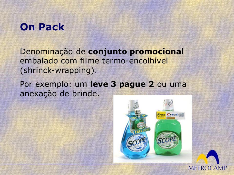 On Pack Denominação de conjunto promocional embalado com filme termo-encolhível (shrinck-wrapping).