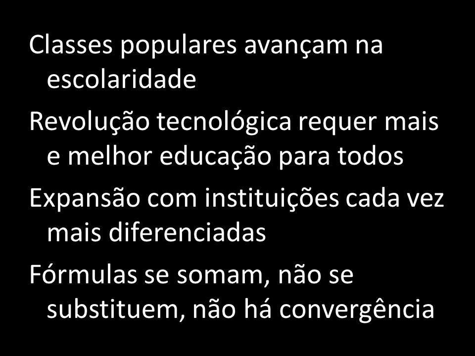 Classes populares avançam na escolaridade Revolução tecnológica requer mais e melhor educação para todos Expansão com instituições cada vez mais diferenciadas Fórmulas se somam, não se substituem, não há convergência