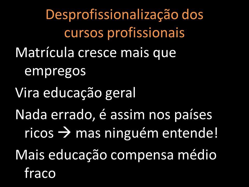 Desprofissionalização dos cursos profissionais
