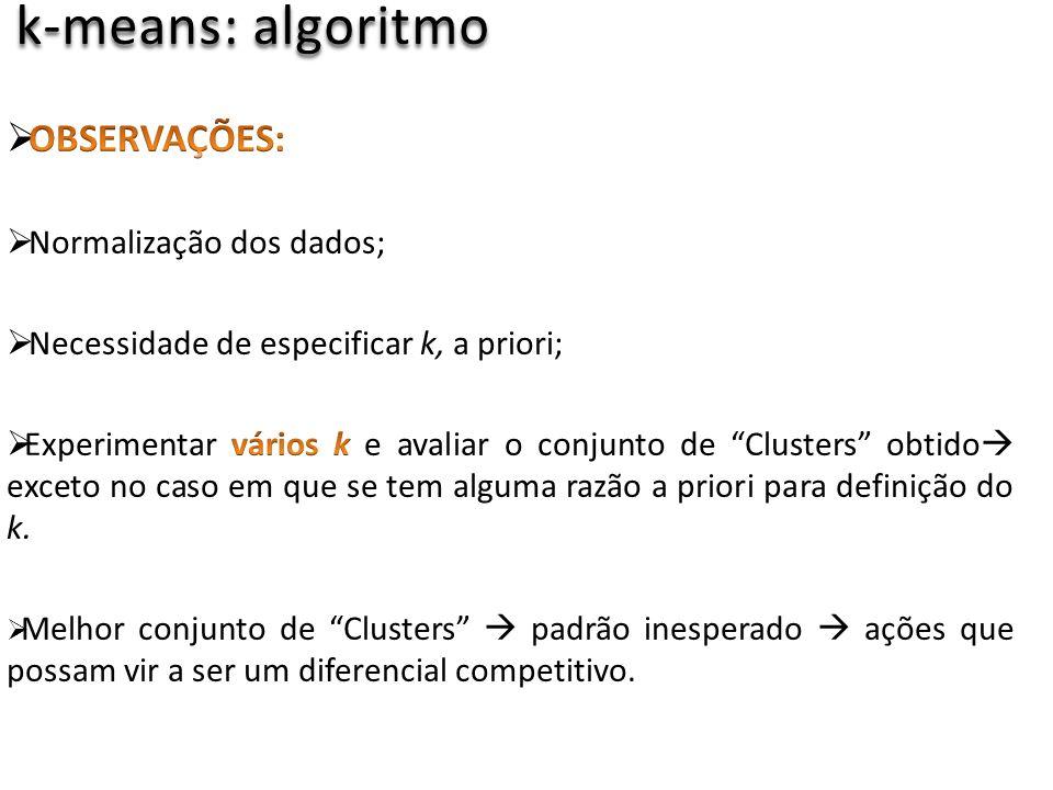 k-means: algoritmo OBSERVAÇÕES: Normalização dos dados;