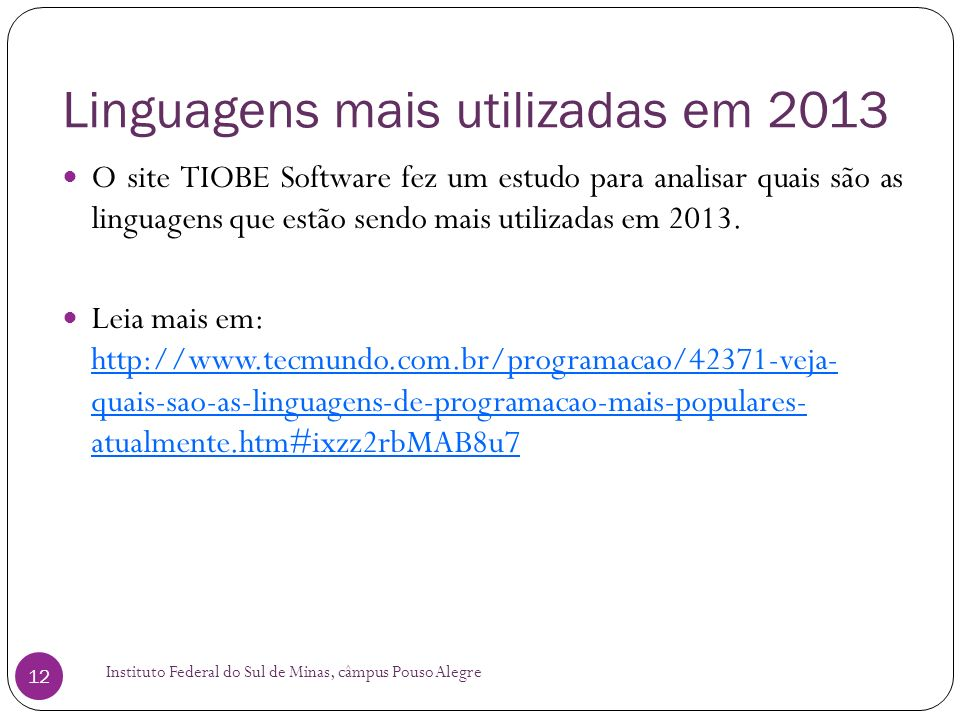Linguagens mais utilizadas em 2013
