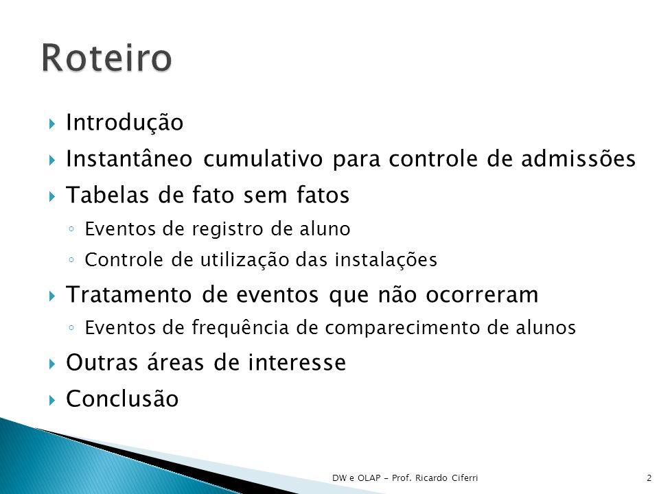 Roteiro Introdução Instantâneo cumulativo para controle de admissões