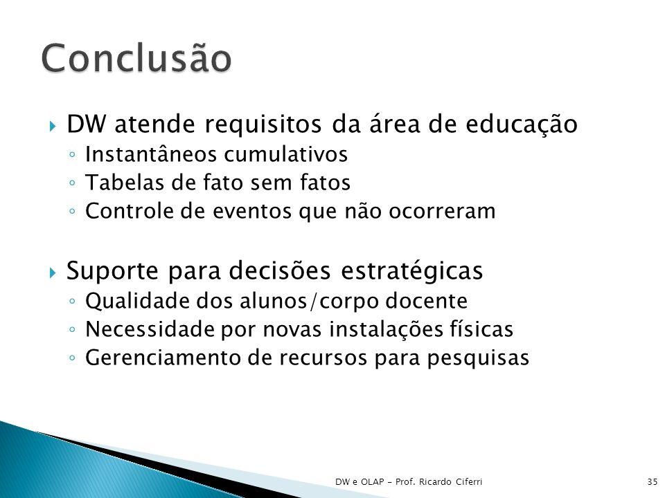 Conclusão DW atende requisitos da área de educação