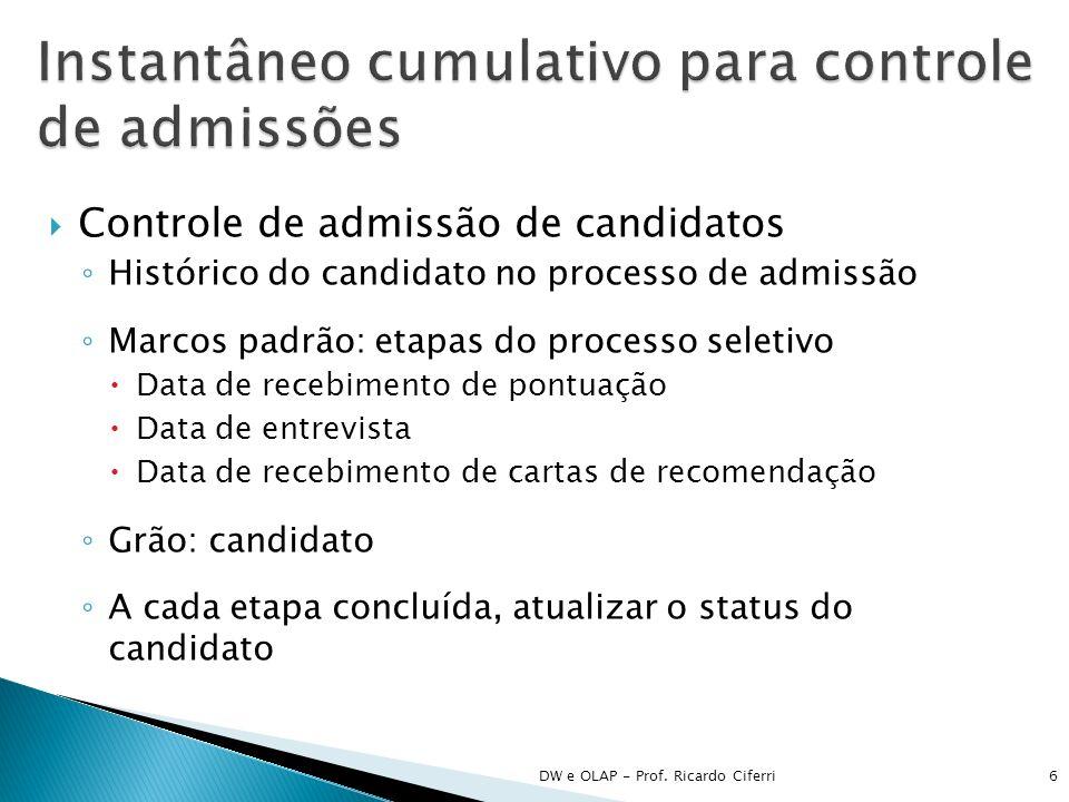Instantâneo cumulativo para controle de admissões