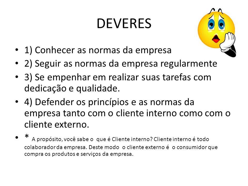 DEVERES 1) Conhecer as normas da empresa