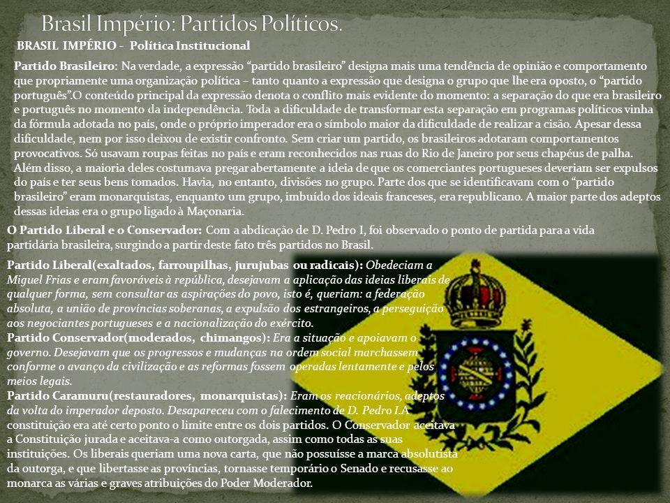 Brasil Império: Partidos Políticos.