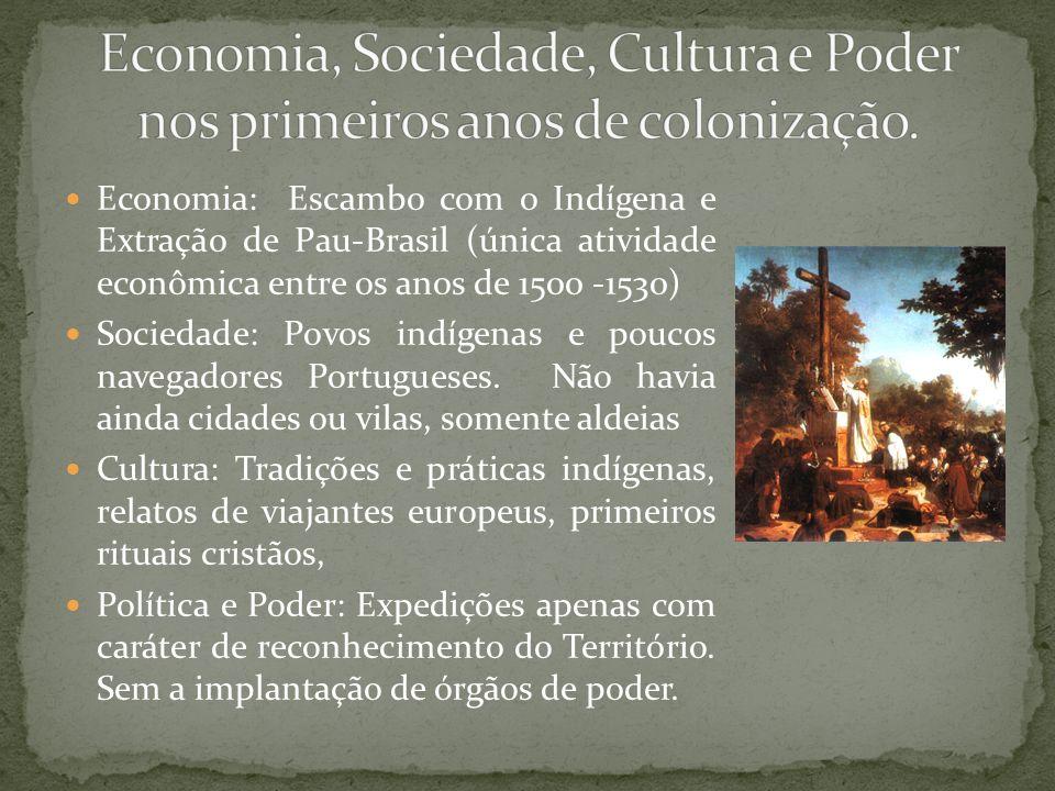 Economia, Sociedade, Cultura e Poder nos primeiros anos de colonização.
