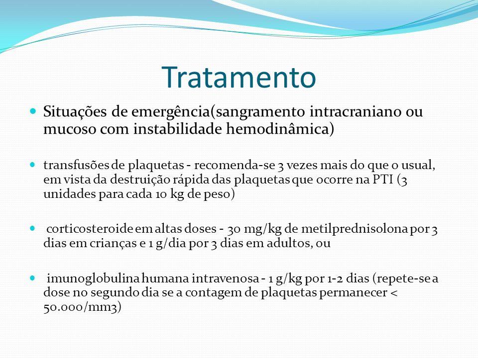 Tratamento Situações de emergência(sangramento intracraniano ou mucoso com instabilidade hemodinâmica)