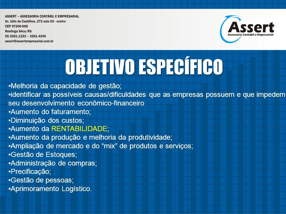 OBJETIVO ESPECÍFICO Melhoria da capacidade de gestão;