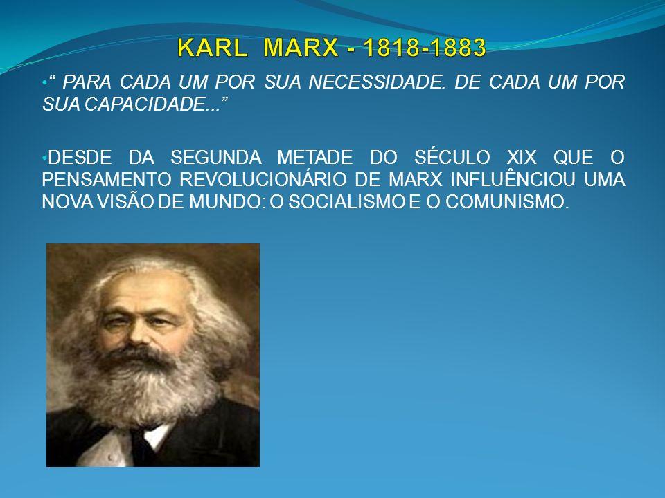 KARL MARX - 1818-1883 PARA CADA UM POR SUA NECESSIDADE. DE CADA UM POR SUA CAPACIDADE...