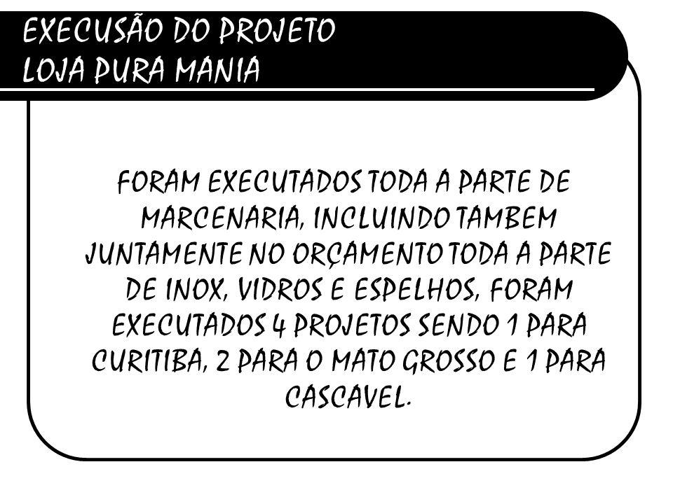 EXECUSÃO DO PROJETO LOJA PURA MANIA
