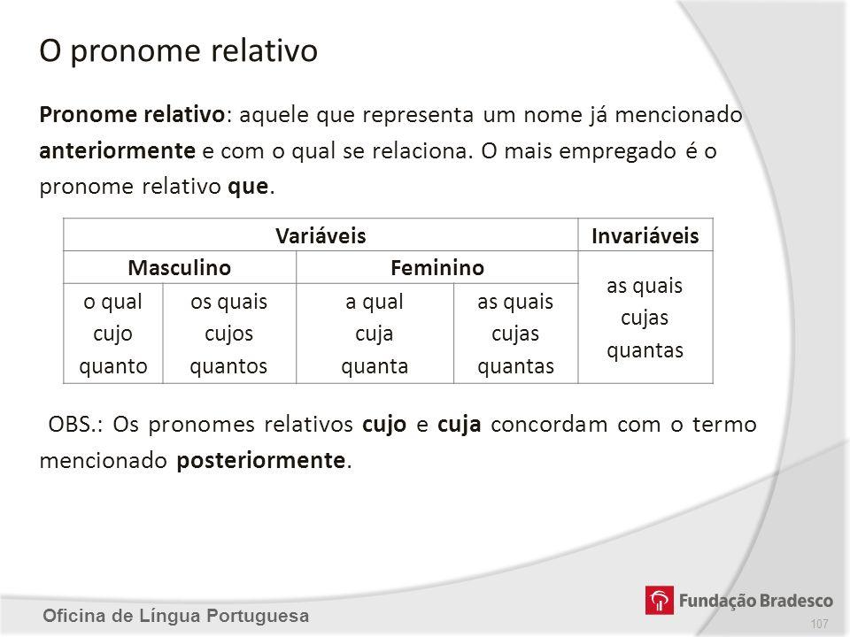 O pronome relativo