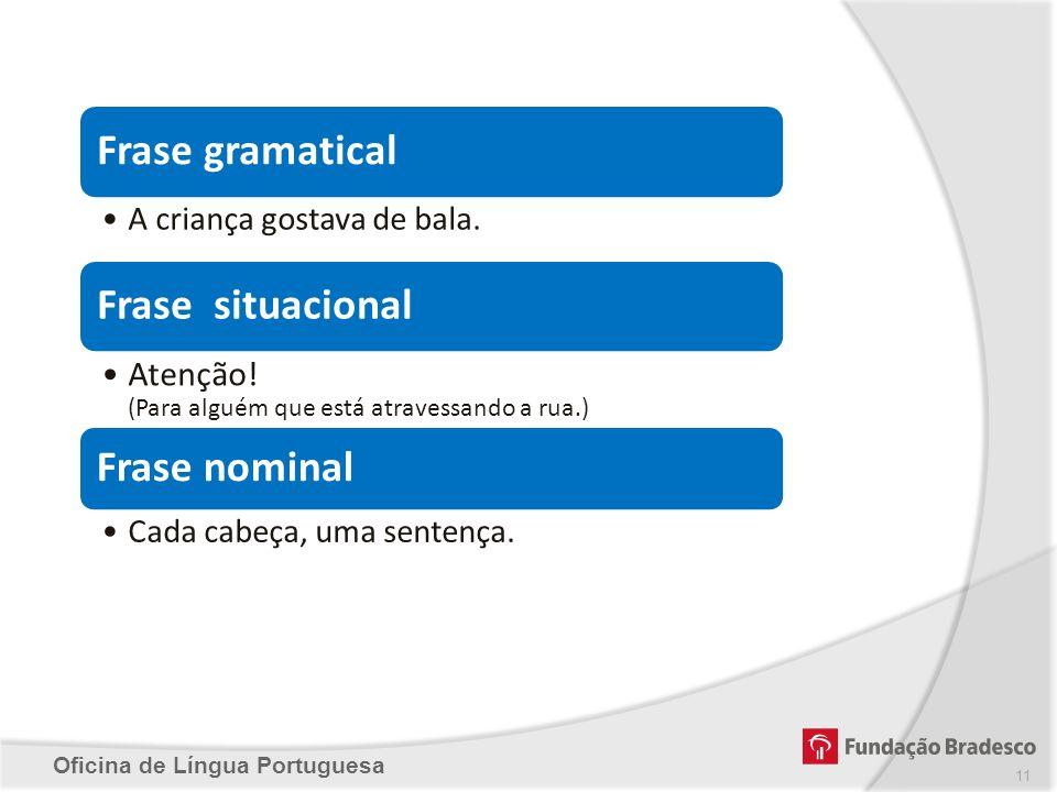 Frase gramatical Frase situacional Frase nominal
