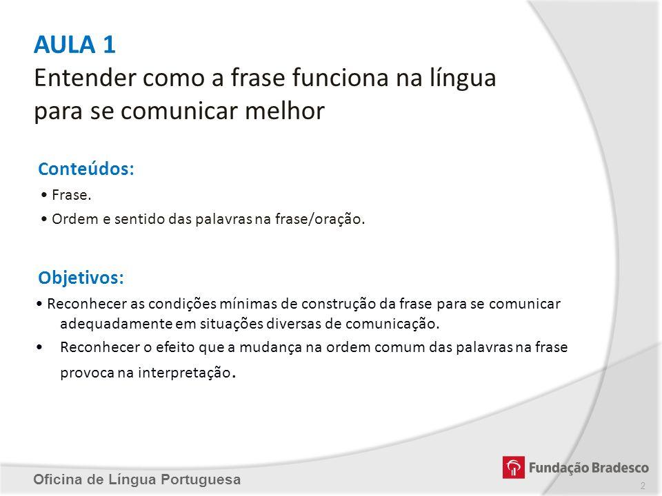 AULA 1 Entender como a frase funciona na língua para se comunicar melhor