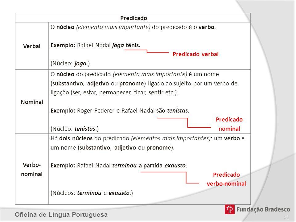 Predicado Verbal. O núcleo (elemento mais importante) do predicado é o verbo. Exemplo: Rafael Nadal joga tênis.
