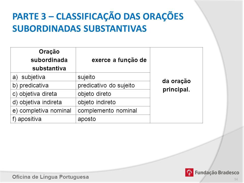 PARTE 3 – CLASSIFICAÇÃO DAS ORAÇÕES SUBORDINADAS SUBSTANTIVAS
