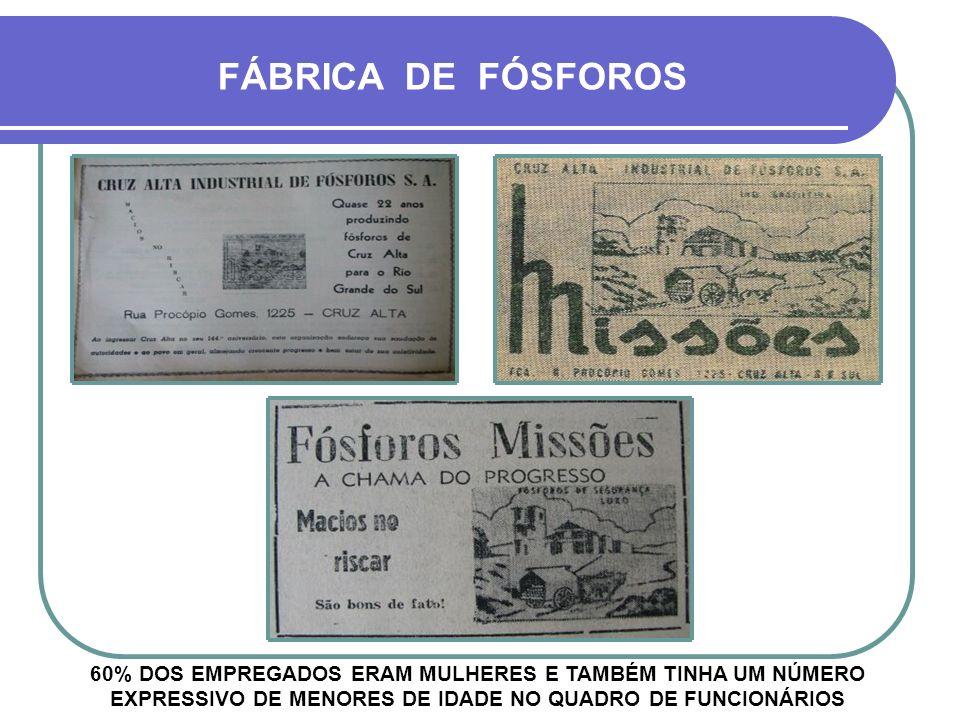 FÁBRICA DE FÓSFOROS 60% DOS EMPREGADOS ERAM MULHERES E TAMBÉM TINHA UM NÚMERO EXPRESSIVO DE MENORES DE IDADE NO QUADRO DE FUNCIONÁRIOS.