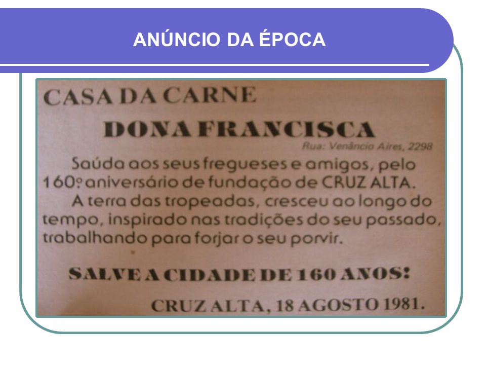 ANÚNCIO DA ÉPOCA