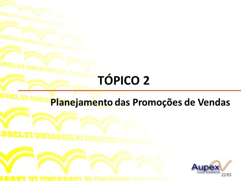 TÓPICO 2 Planejamento das Promoções de Vendas 22/85