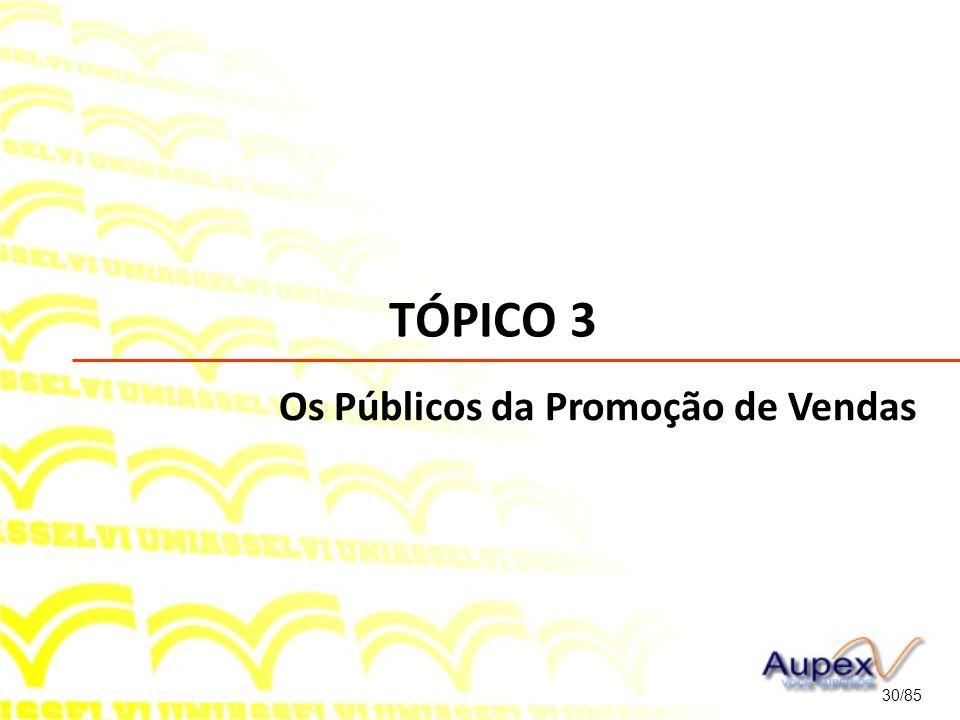 TÓPICO 3 Os Públicos da Promoção de Vendas 30/85