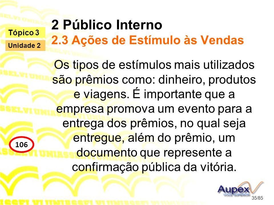 2 Público Interno 2.3 Ações de Estímulo às Vendas