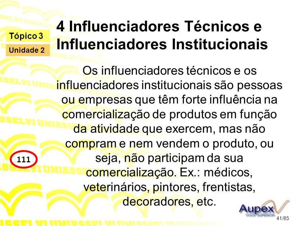 4 Influenciadores Técnicos e Influenciadores Institucionais