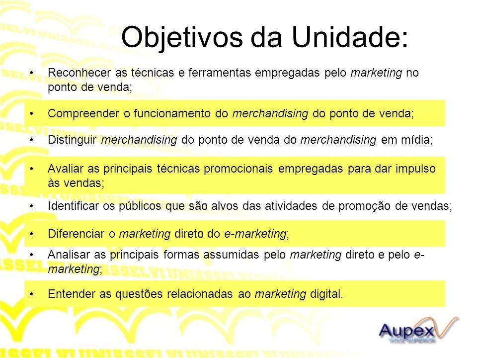 Objetivos da Unidade: Reconhecer as técnicas e ferramentas empregadas pelo marketing no ponto de venda;