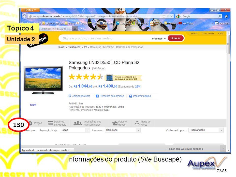 Informações do produto (Site Buscapé)