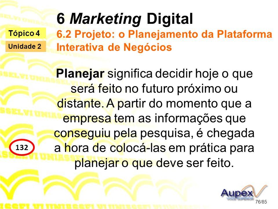 6 Marketing Digital 6.2 Projeto: o Planejamento da Plataforma Interativa de Negócios