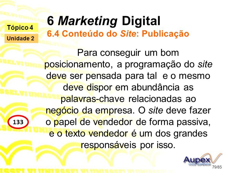 6 Marketing Digital 6.4 Conteúdo do Site: Publicação