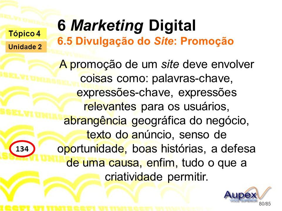 6 Marketing Digital 6.5 Divulgação do Site: Promoção