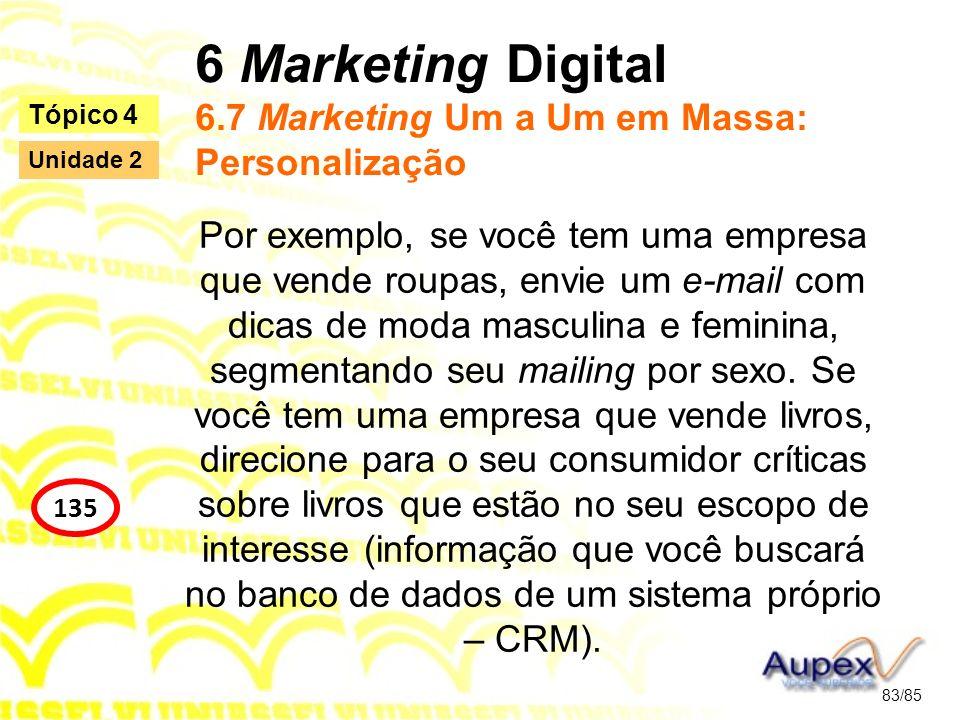 6 Marketing Digital 6.7 Marketing Um a Um em Massa: Personalização