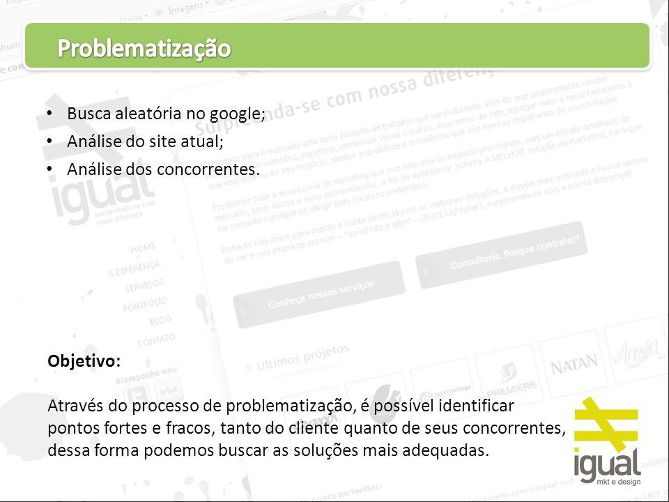 Problematização Busca aleatória no google; Análise do site atual;