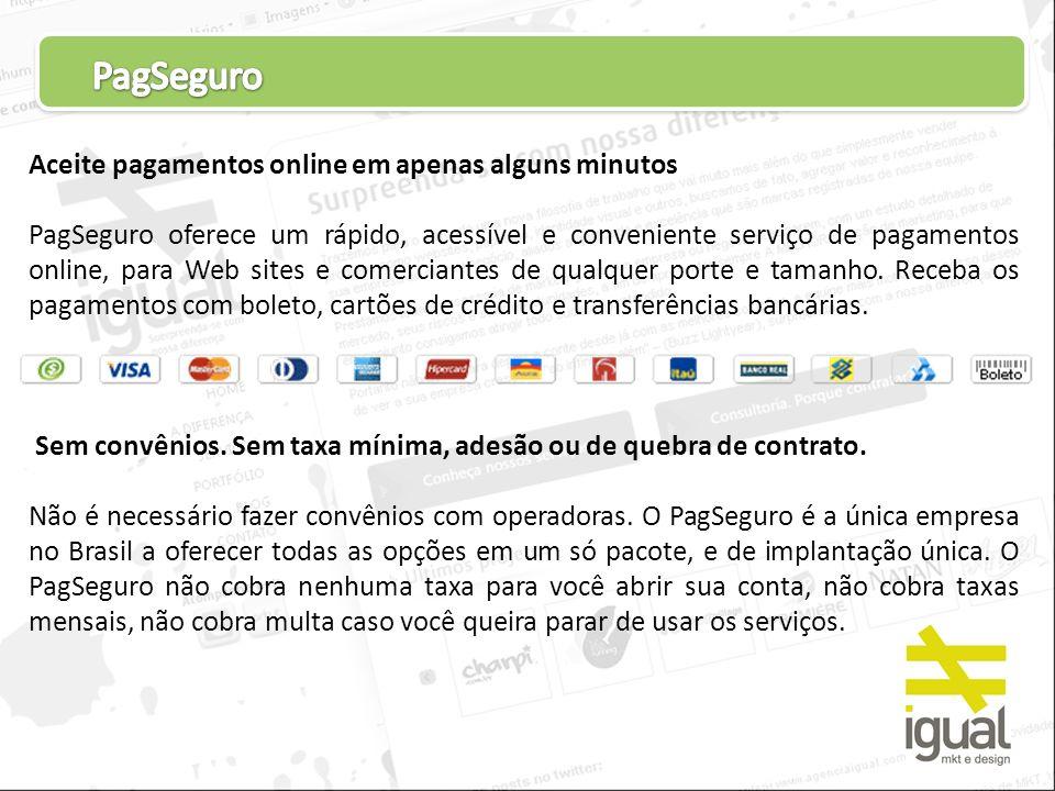 PagSeguro Aceite pagamentos online em apenas alguns minutos