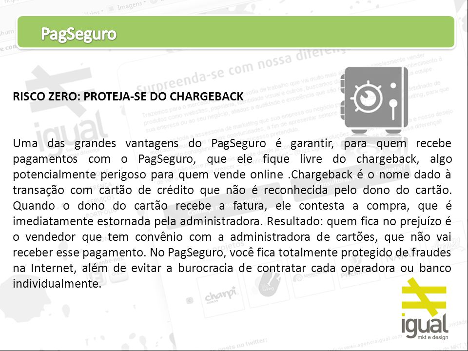 PagSeguro RISCO ZERO: PROTEJA-SE DO CHARGEBACK