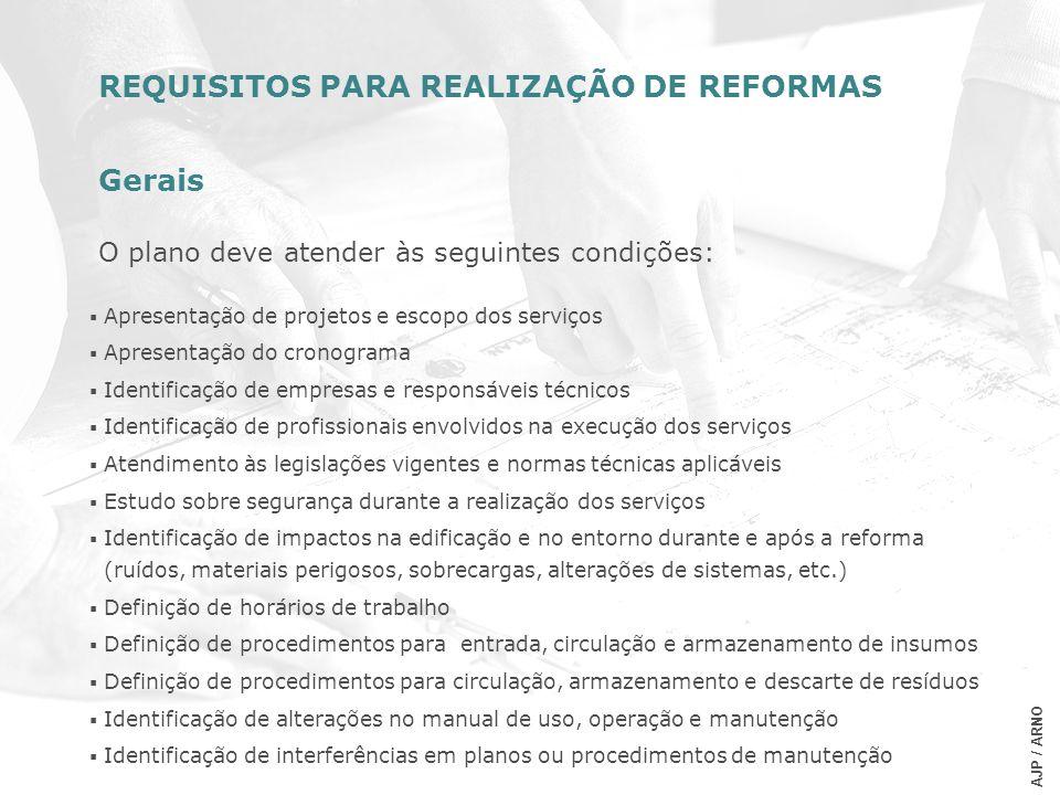 REQUISITOS PARA REALIZAÇÃO DE REFORMAS Gerais