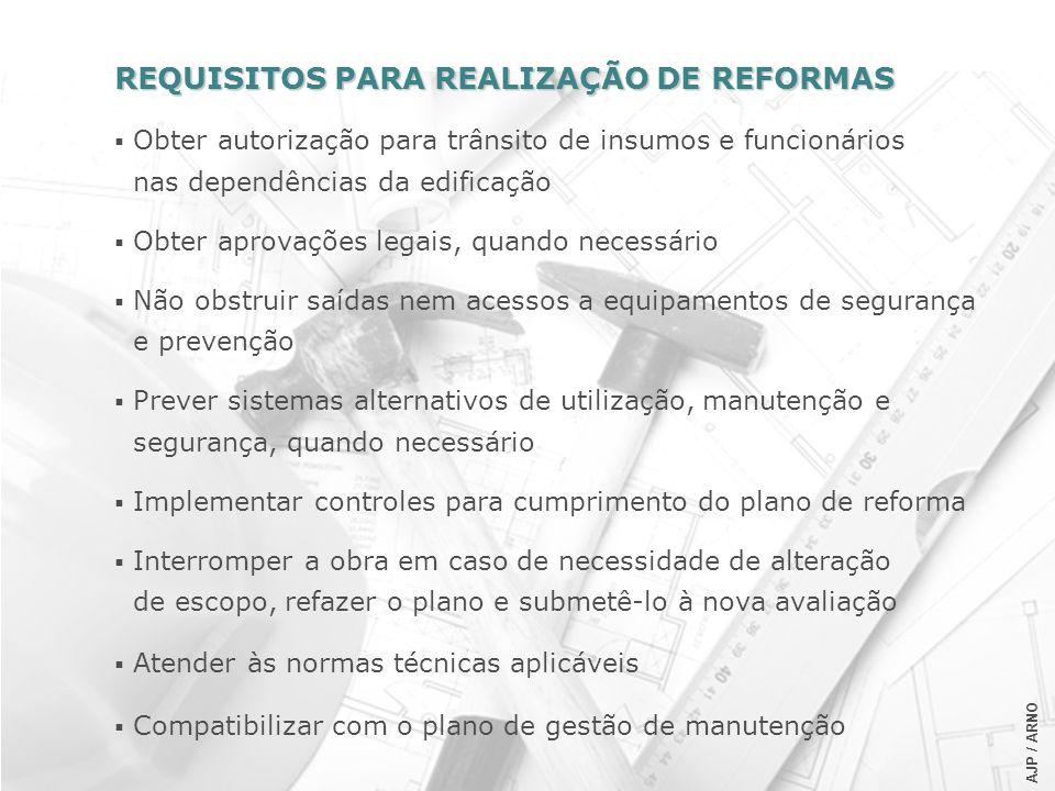 REQUISITOS PARA REALIZAÇÃO DE REFORMAS