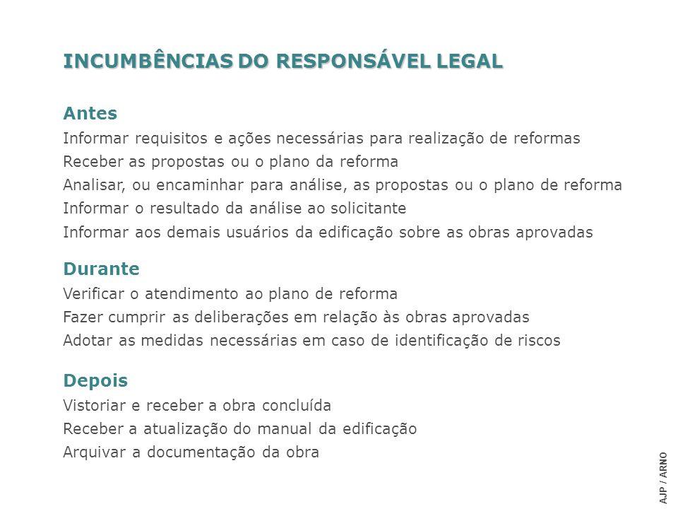 INCUMBÊNCIAS DO RESPONSÁVEL LEGAL
