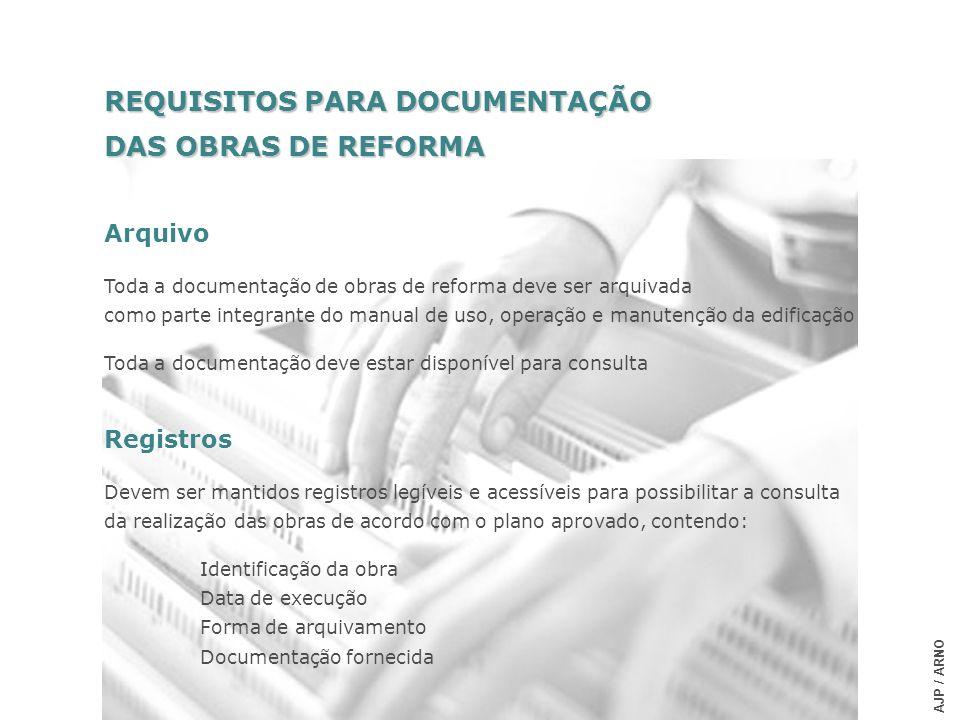 REQUISITOS PARA DOCUMENTAÇÃO DAS OBRAS DE REFORMA