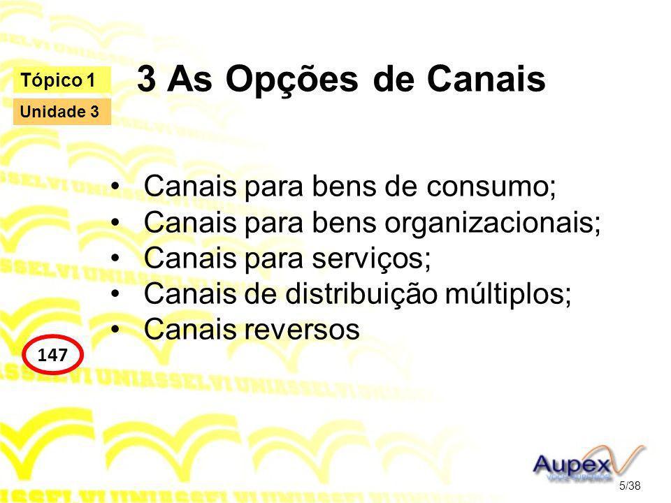 3 As Opções de Canais Canais para bens de consumo;