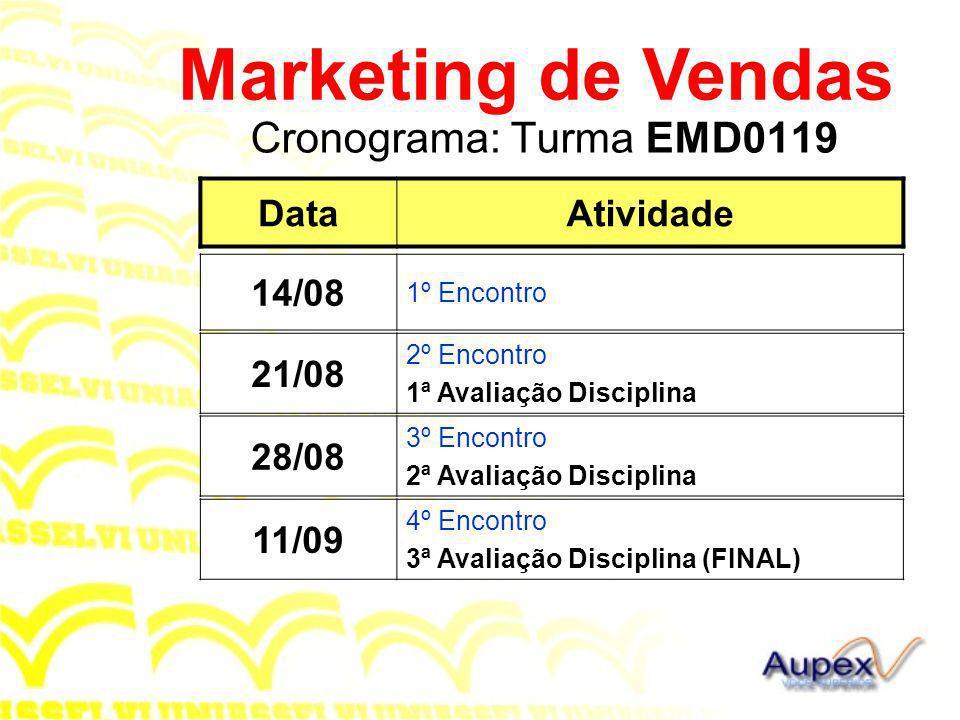 Marketing de Vendas Cronograma: Turma EMD0119 Data Atividade 14/08