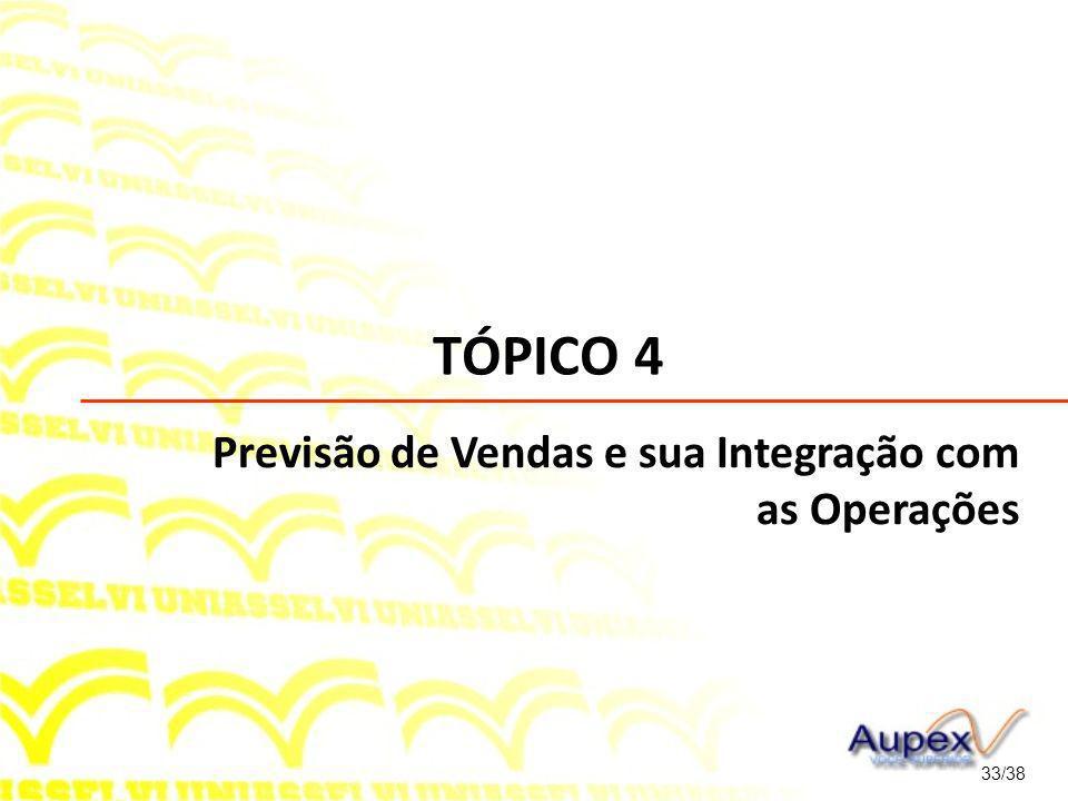 TÓPICO 4 Previsão de Vendas e sua Integração com as Operações 33/38