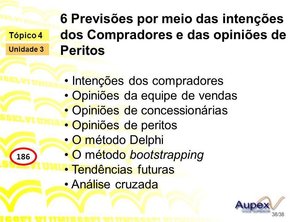 6 Previsões por meio das intenções dos Compradores e das opiniões de Peritos
